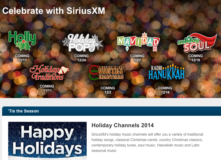 SiriusXM Holiday Channels 2014