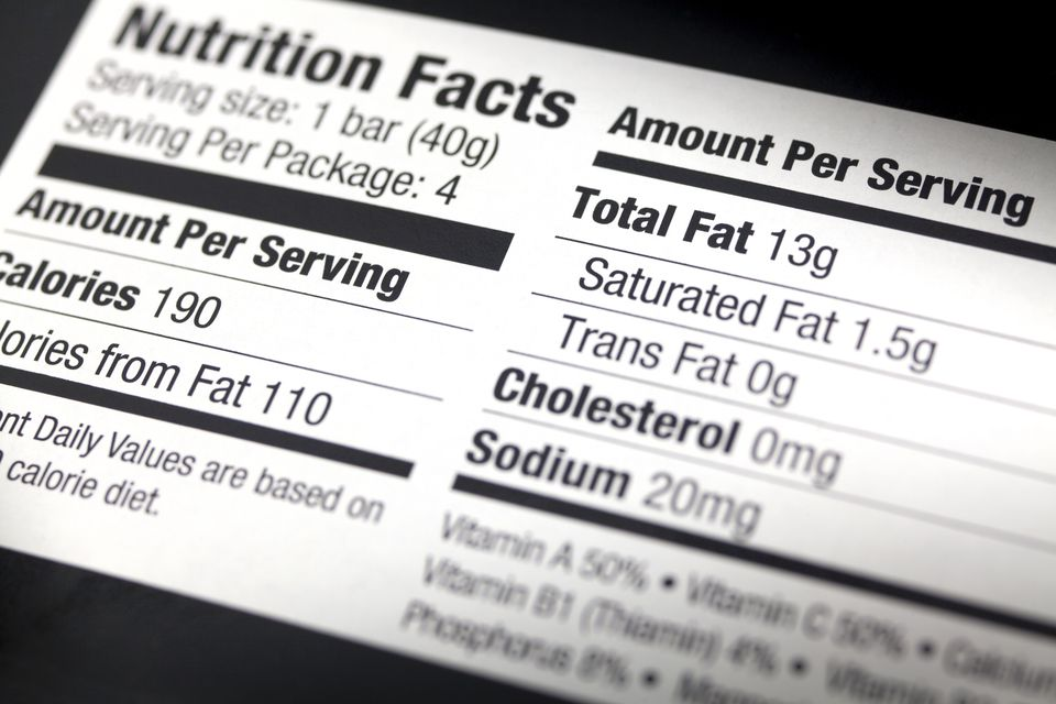 Nutritional label close up.