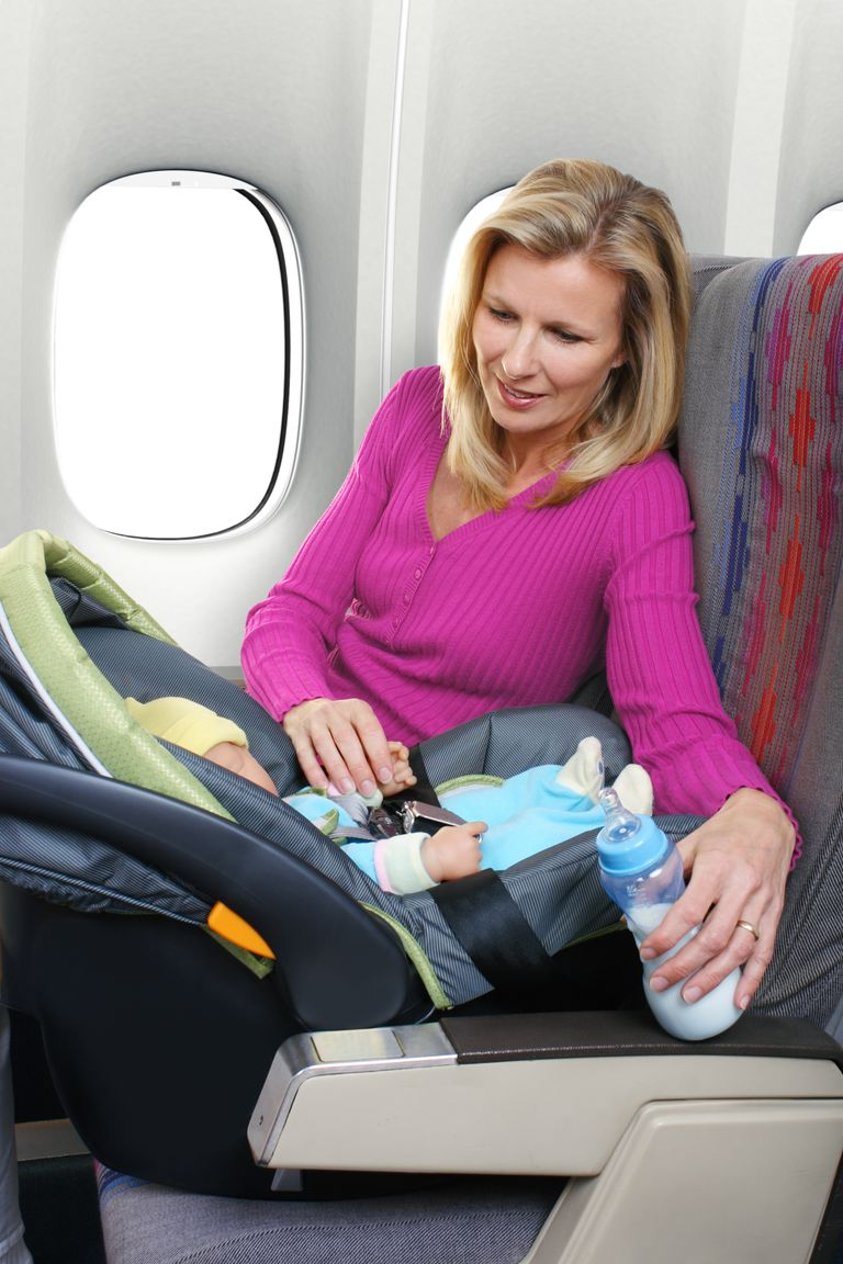 Child in car seat on airplane