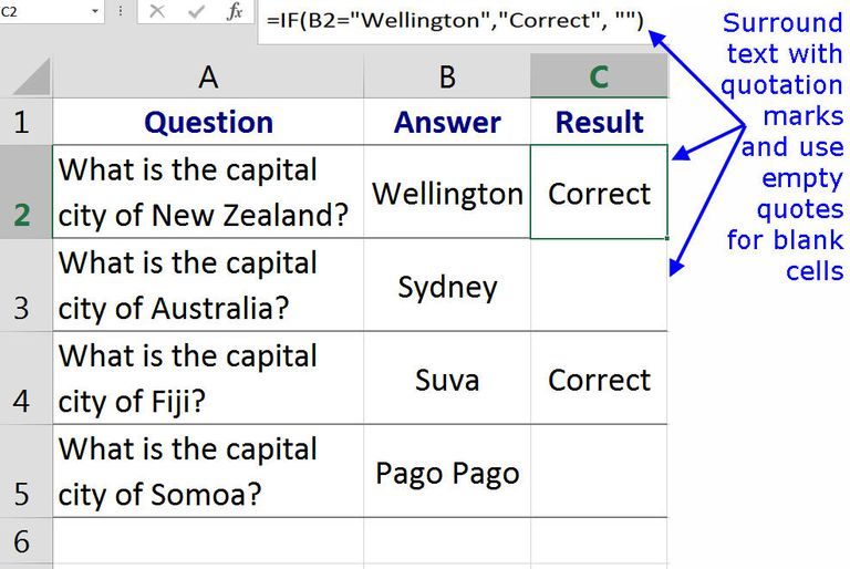 Entering Data Text Or Formulas With The Excel If Function