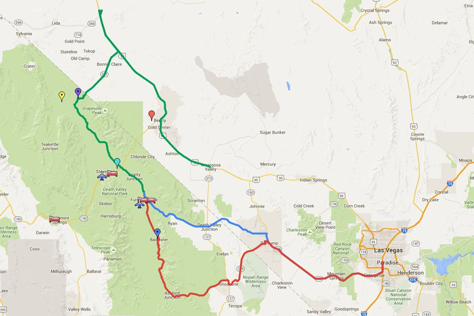 Driving Routes from Las Vegas to Death Valley