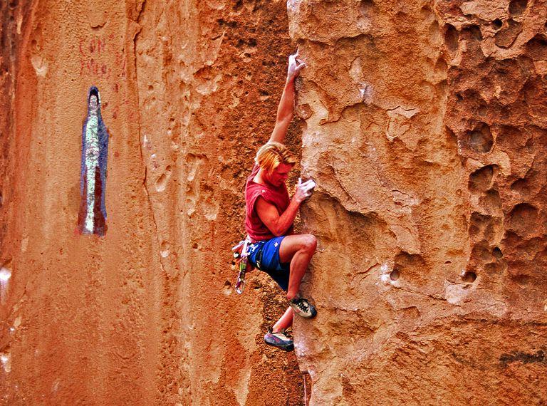 Ian Spencer-Green climbing Bullet the Blue Sky (5.12d) at Penitente Canyon, Colorado.