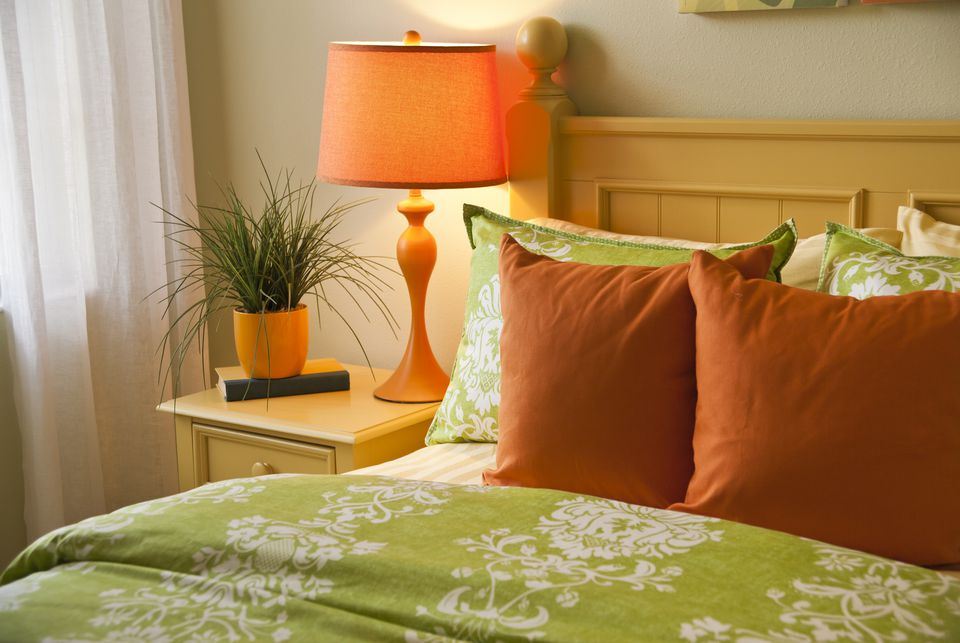 bold bedroom colors. orange and green bedroom. bold bedroom colors