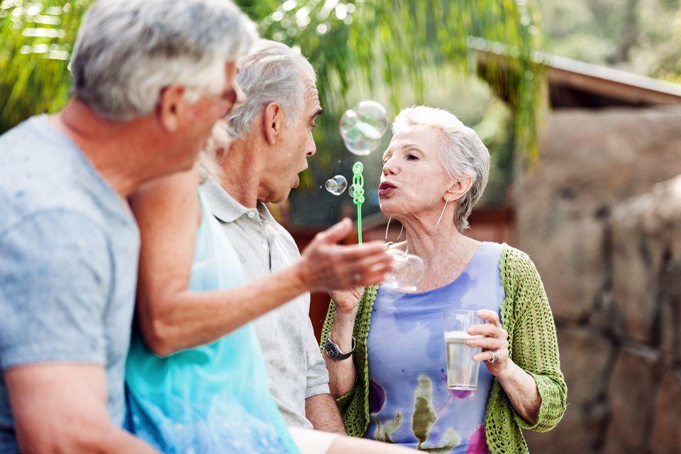 Seniors at backyard party