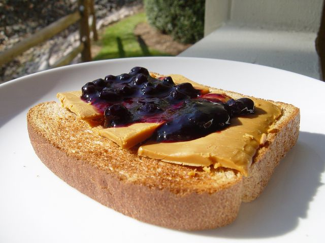 Gjetost on Toast with Blueberry Preserves