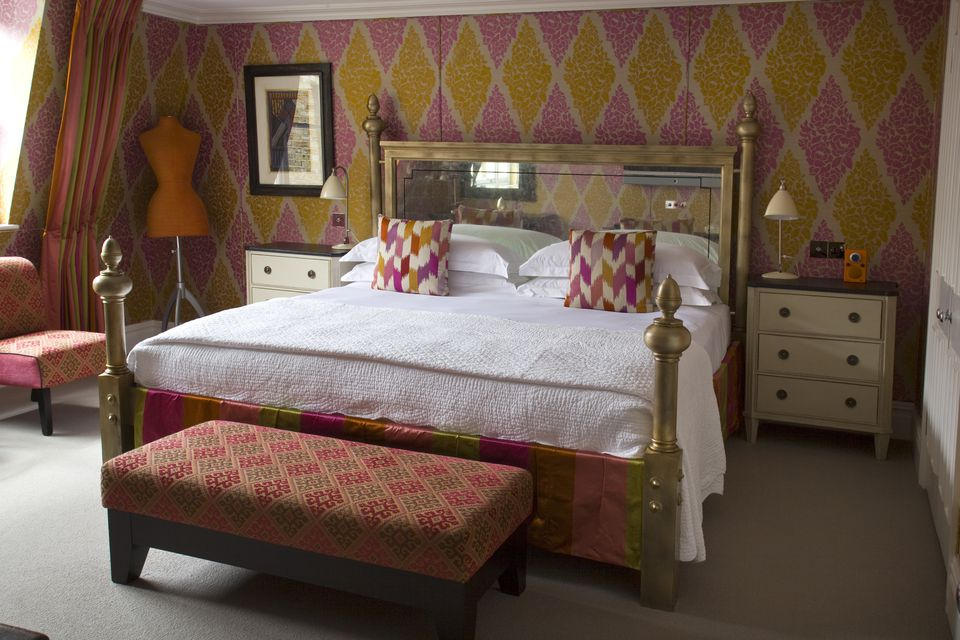 Orange  pink and gold bedroom with harlequin wallpaper. 100 Dream Bedroom Decorating Ideas and Tips