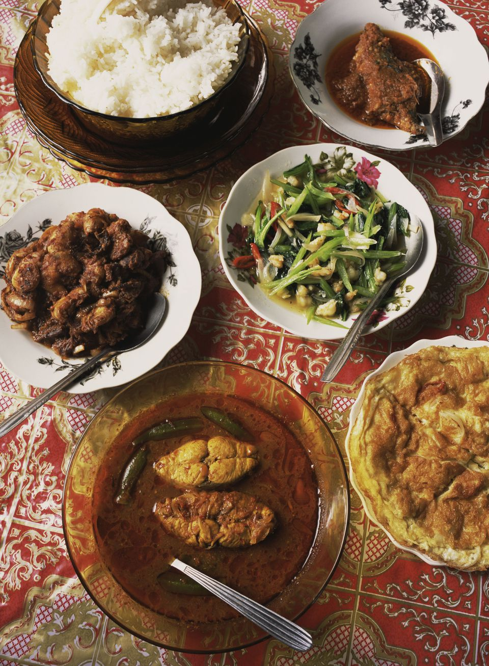 A Rijsttafel spread on a table