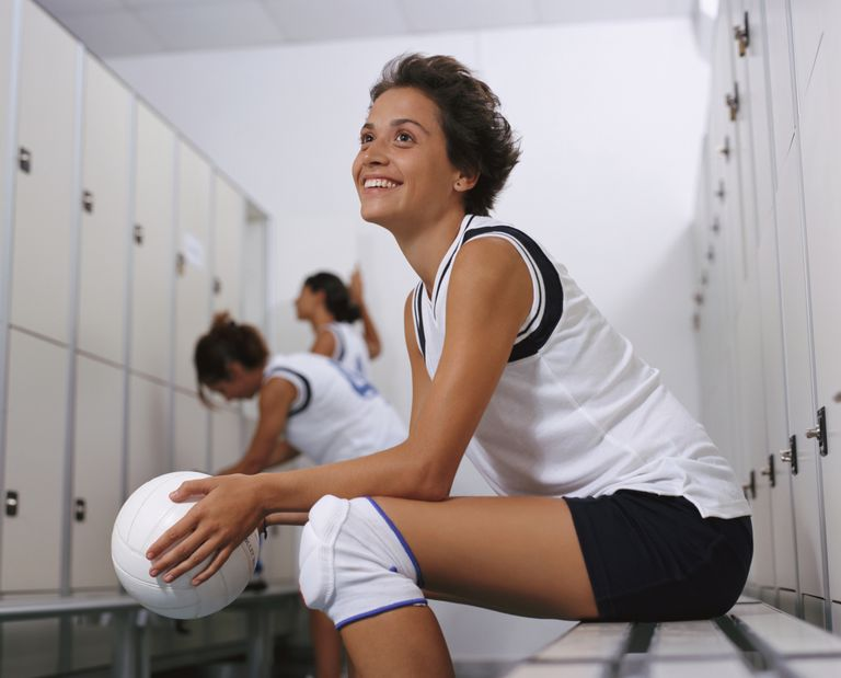 Volleyball player in knee pads