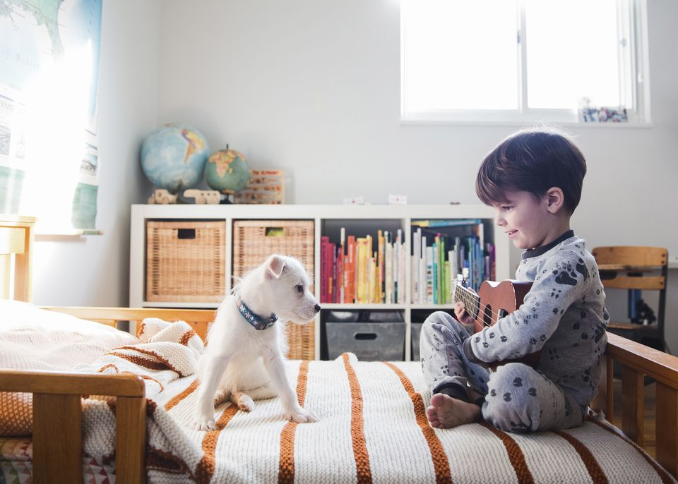 A puppy sitting on a bed next to a child, boy holding a ukulele.