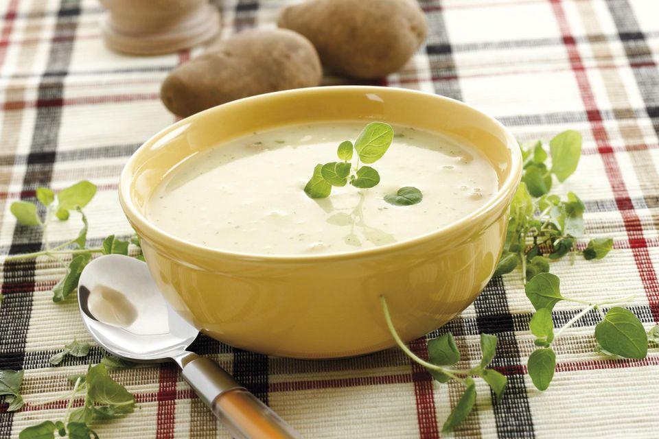 Potato soup in soup bowl