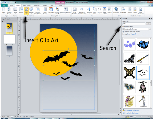 Searching for and inserting clip art of bats onto page in Microsoft Publisher 2010.