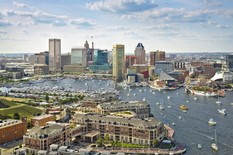 Baltimore harbor by daylight.