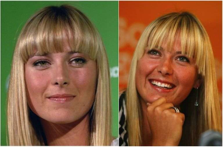 Maria Sharapova with bubble bangs on the left and correctly dried bangs on the right