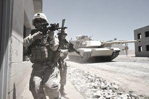 U.S. marines with tank