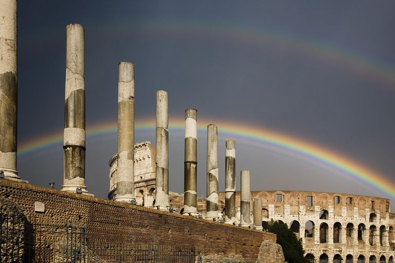 Double rainbow over the Colosseum at the entrance to the Roman Forum, Via Sacra, Piazza Del Colosseo, Rome, Italy