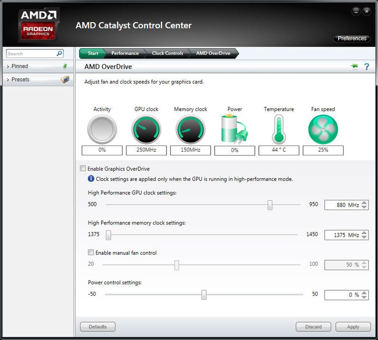AMD Overdrive Performance Tuning