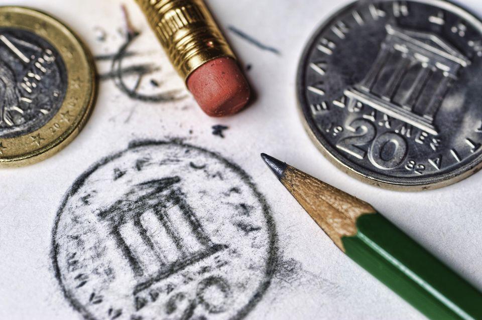 Greek Drachmas and Euro change.