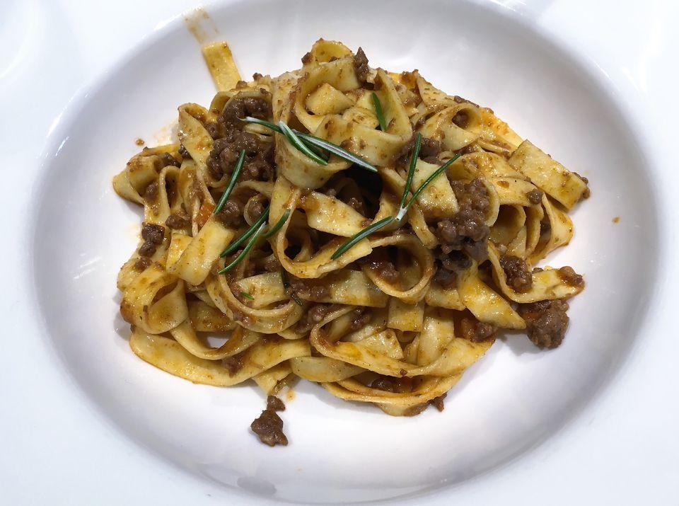 Tagliatelle with rabbit (or hare) ragu' sauce