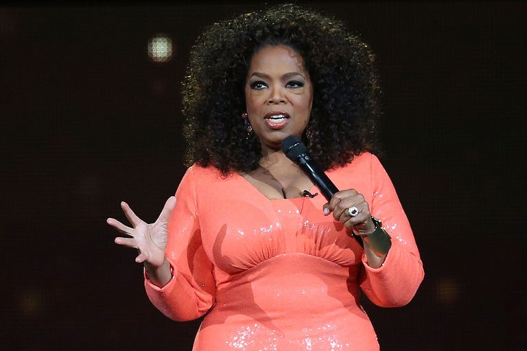 Oprah Winfrey talks to an audience.