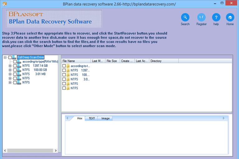Ảnh chụp màn hình của phần mềm Phục hồi dữ liệu BPlan
