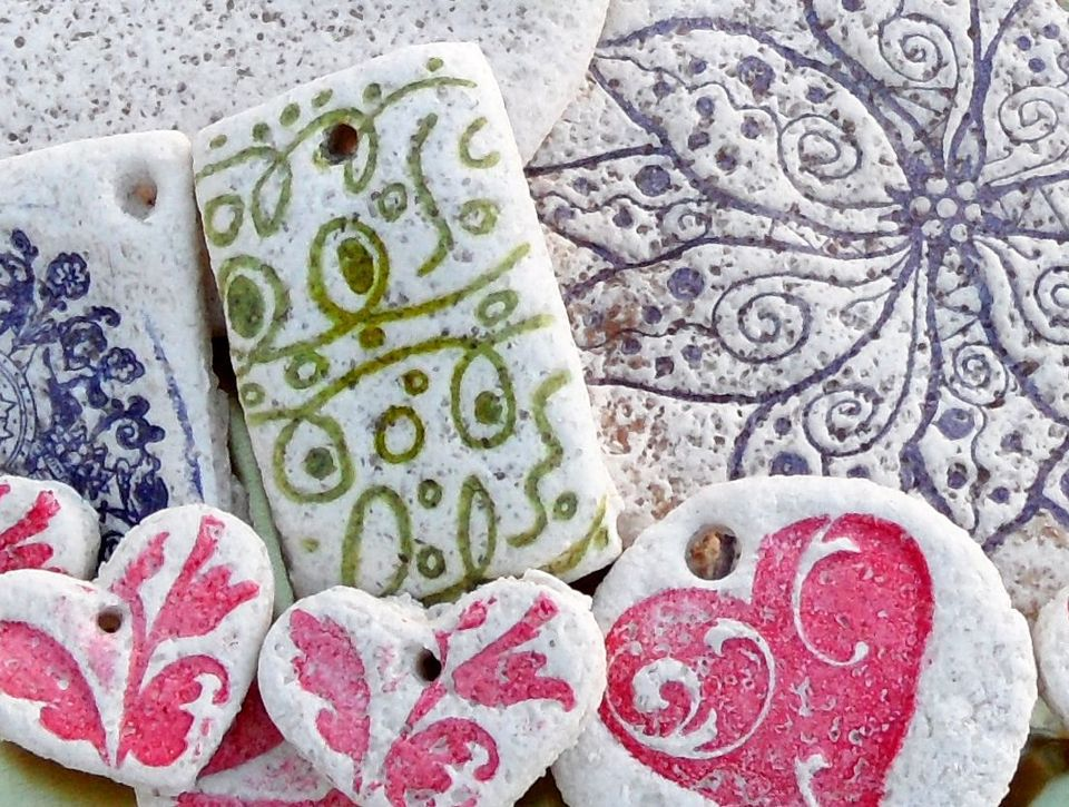 Rubber Stamping And Salt Dough
