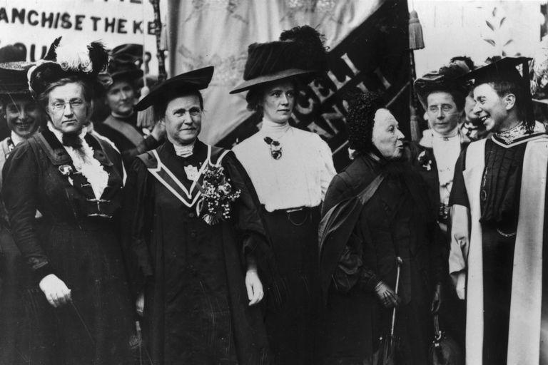 National Union of Women's Suffrage march, 1908: Lady Frances Balfour, Millicent Fawcett, Ethel Snowden, Emily Davies, Sophie Bryant