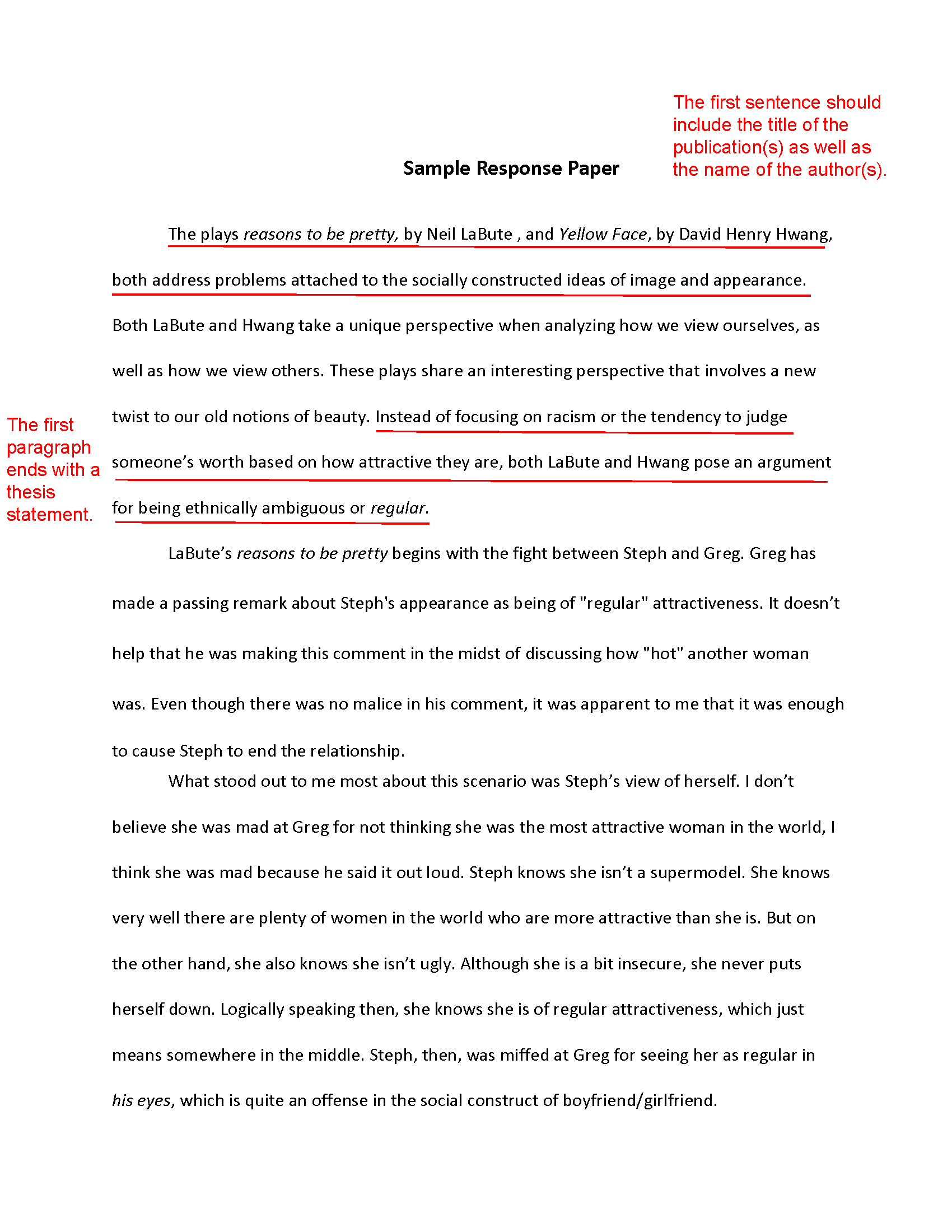 how to write a response paper - Critical Response Essay Format