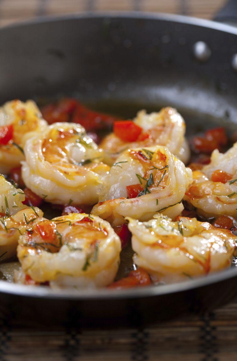 A pan of garlic shrimp & sun-dried tomatoes