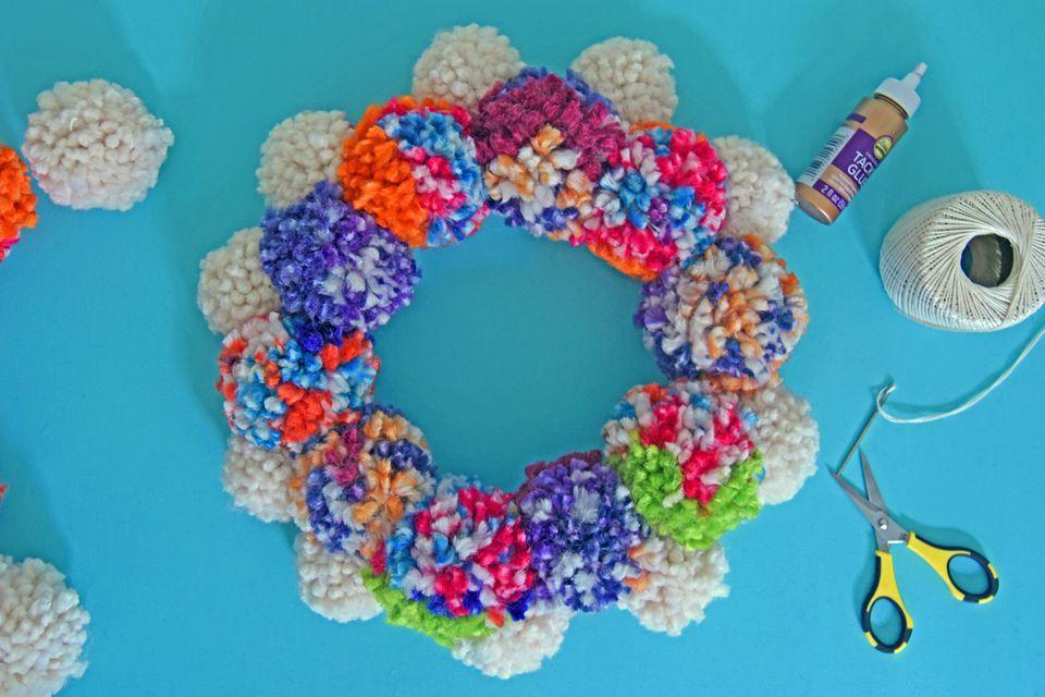 A fun pom-pom wreath