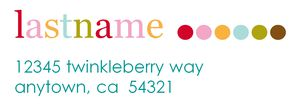 A colorful address label template with dots.