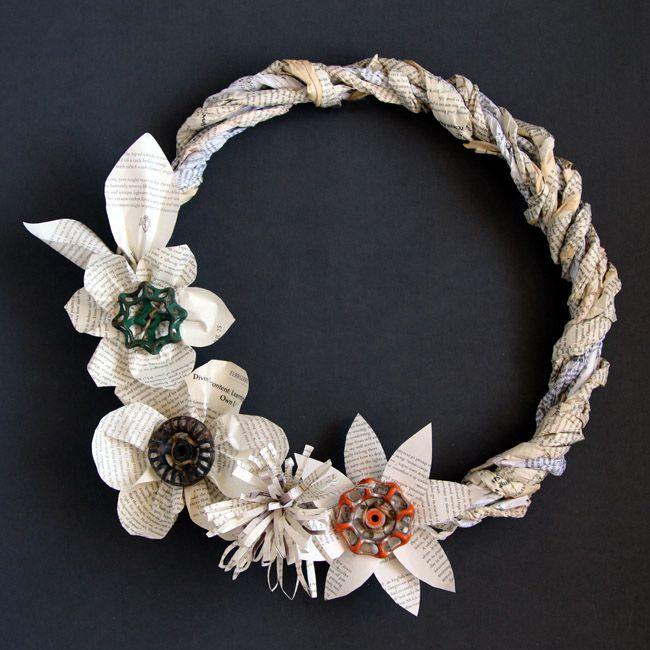 10 paper flower wreaths you can diy recycled book paper flower wreath recycled book page wreath mightylinksfo Choice Image
