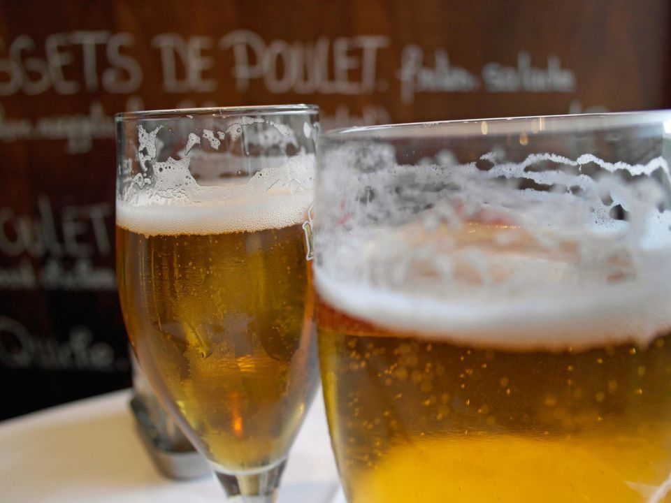 French beer in a Paris bistro.
