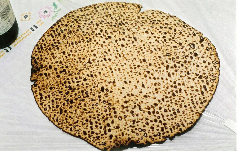 Handmade shmura matzo used at the Passover Seder especially for the mitzvot of eating matzo and afikoman