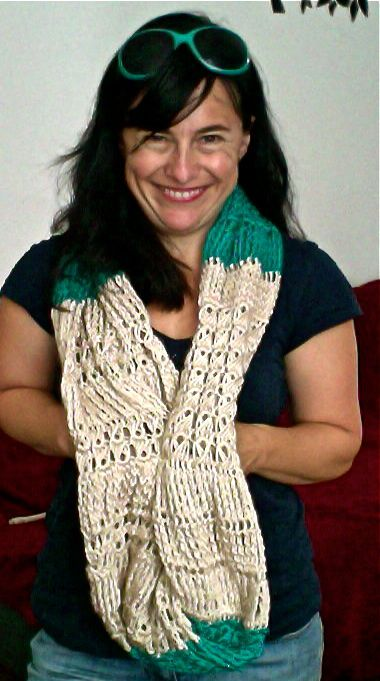Broomstick Lace and Triple Treble Infinity Scarf Free Crochet Pattern
