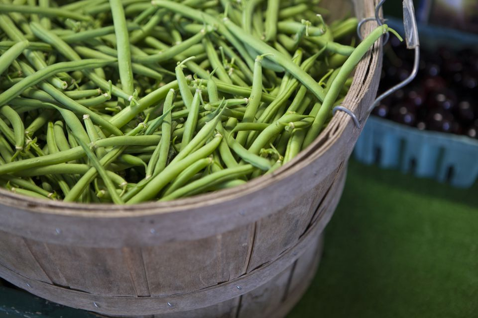 Close up of basket of fresh green beans