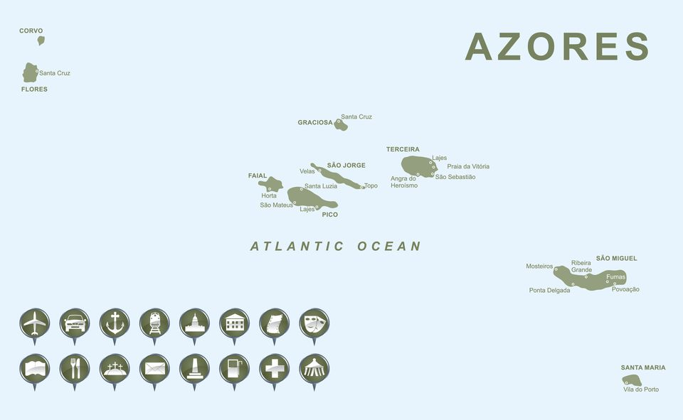 Map of Azores Islands