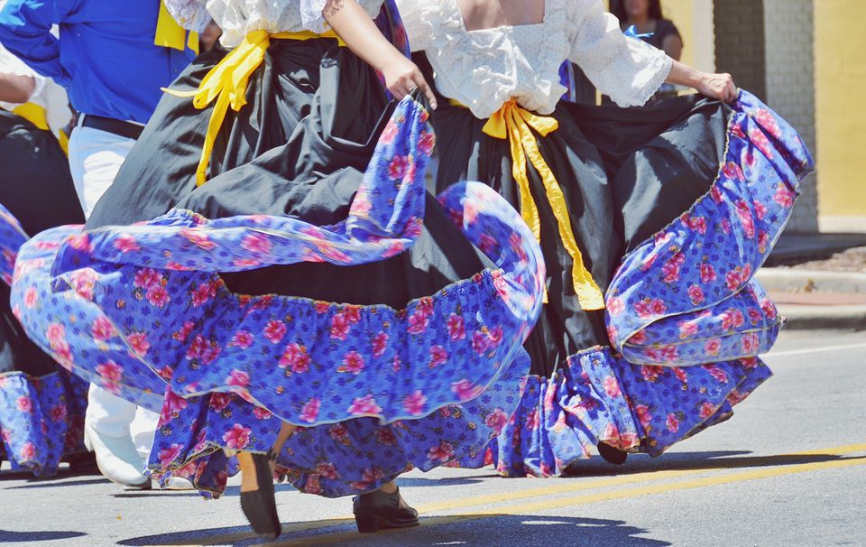 Low Section Of Female Dancers During Cinco De Mayo