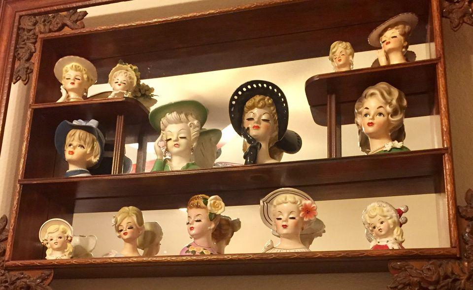 Lady Head Vases on Display