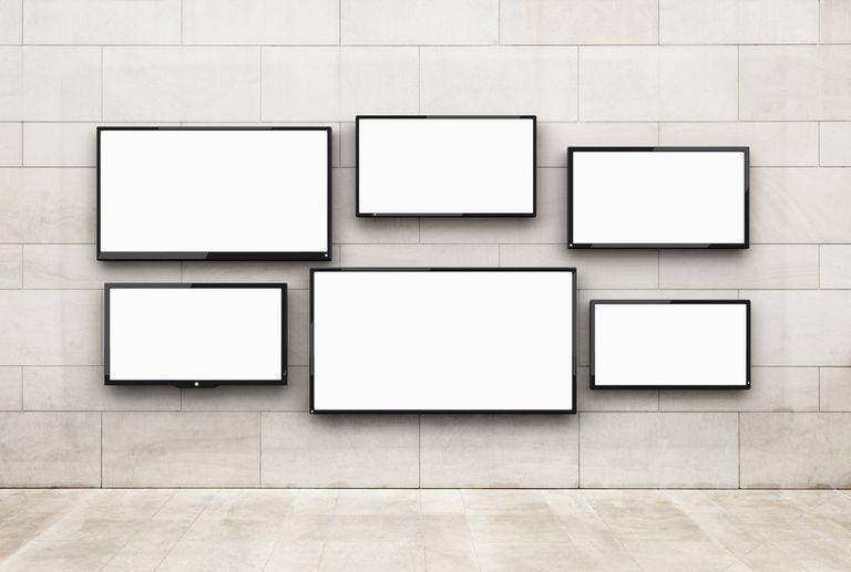 TV display on a wall