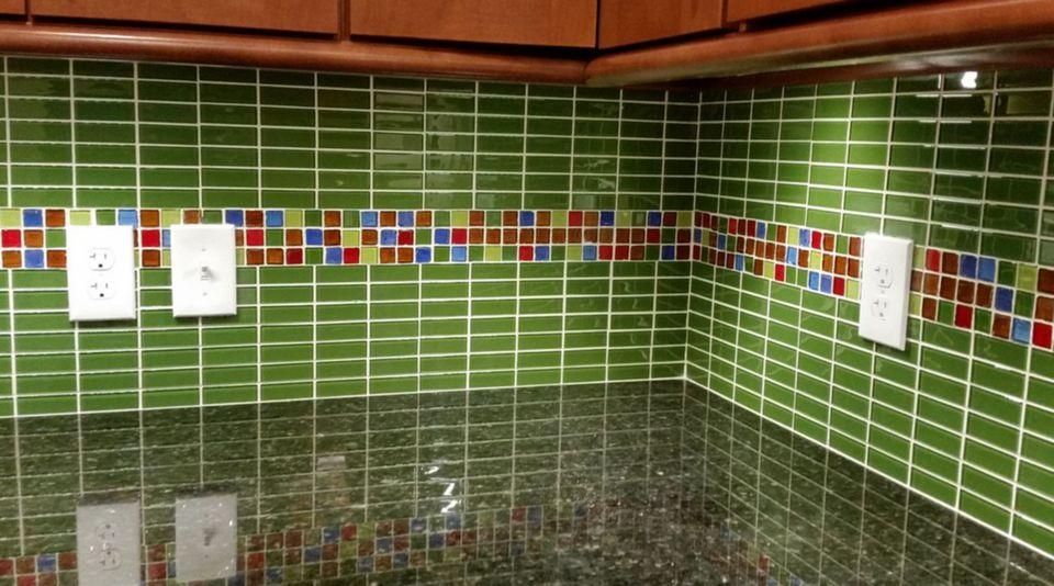 Green Brickwork Tile Backsplash in Kitchen