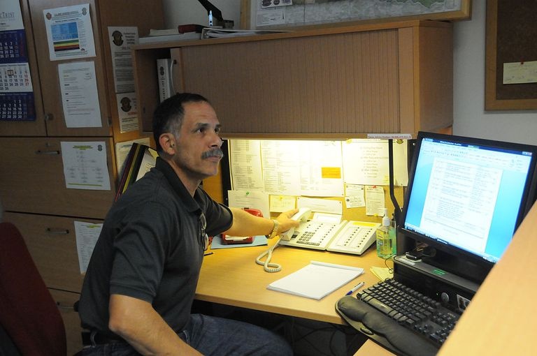 Duty officer at U.S. Army Garrison Hohenfels Installation Operations Center
