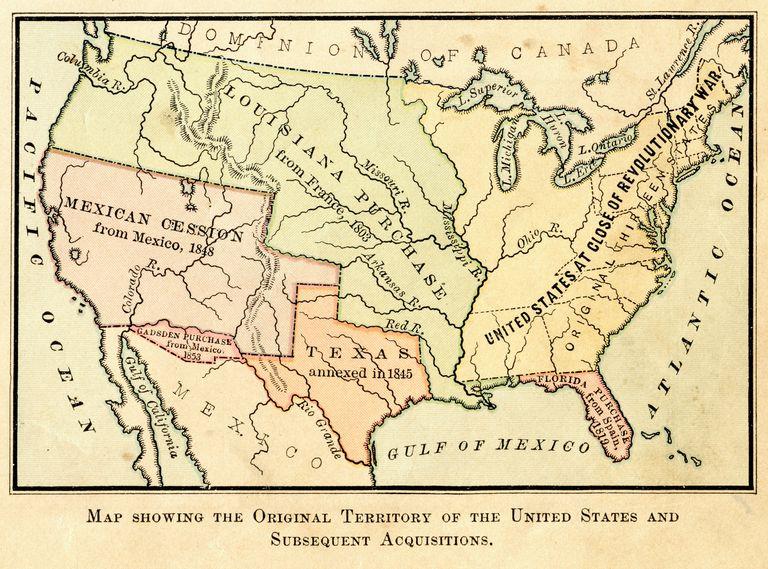 Mapa del territorio original de los Estados Unidos y adquisiciones subsecuentes