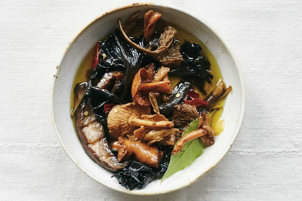 Grilled Wild Mushrooms Preserved in Oil