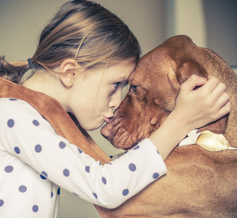 A hug between a young girl and her pet dog