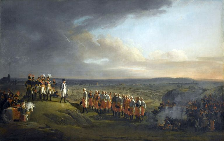 Napoleon takes the surrender of General Mack and the Austrians at Ulm on October 20, 1805