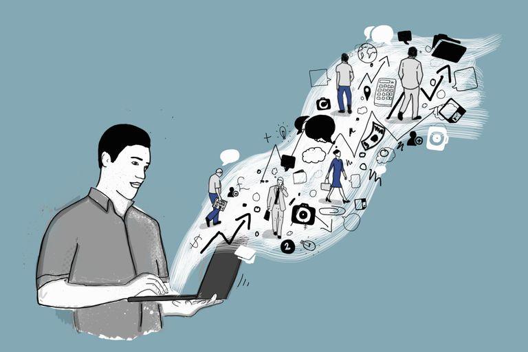 Illustration of man holding laptop computer