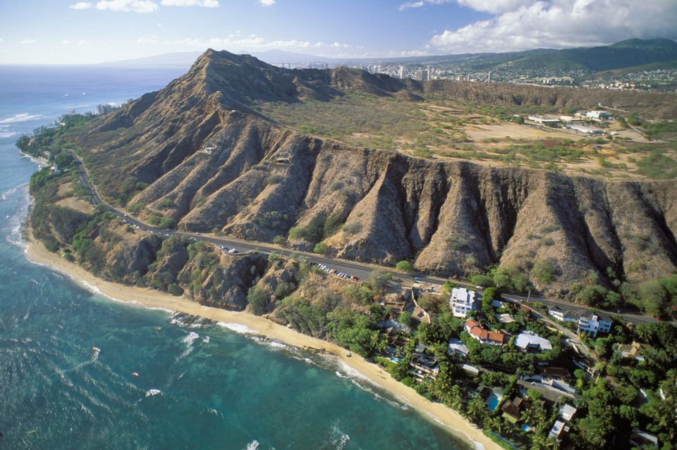 Hawaii, Oahu, Aerial of Diamond Head crater and beach, rugged cliffs, ocean