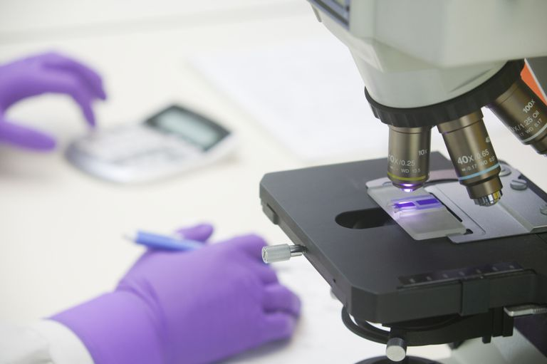 Scientist reviewing blood slide