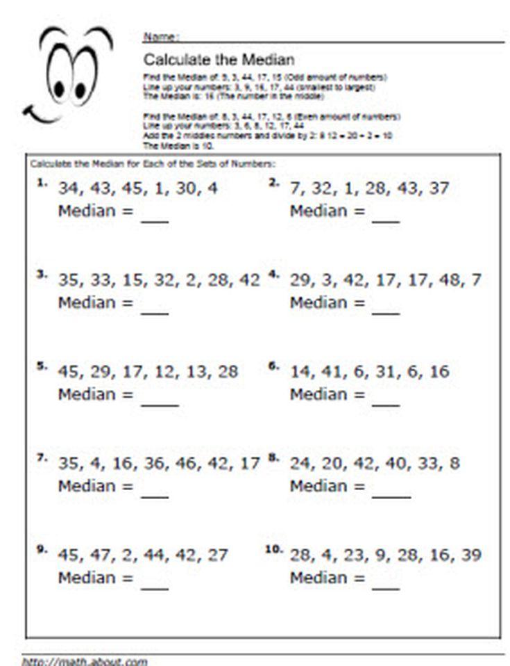 Printable Worksheets mean median worksheets : Median Worksheets for Math Students