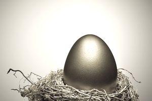 Golden egg on gold nest still life